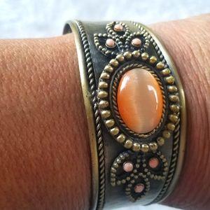 Vintage Copper Peach Orange Cabochon Bracelet